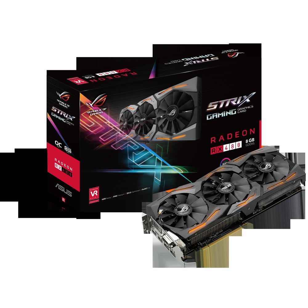 ROG STRIX RX480旗艦電競顯示卡,搭載AMD Radeon RX480圖形處理器,於超頻模式下核心時脈速度可達1330MHz,在3DMark Fire Strike Extreme效能跑分測試中,速度亦超越公版顯示卡15%!